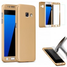 Husa Samsung Galaxy A5 2017, FullBody Elegance Luxury Gold, acoperire completa 360 grade cu folie de sticla gratis