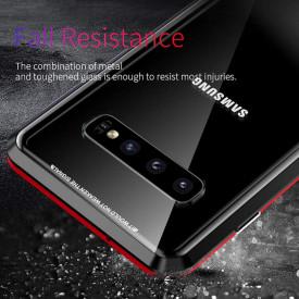 Husa Samsung Galaxy S10 Magnetica 360 grade Black, Perfect Fit cu spate de sticla securizata premium + folie de sticla pentru ecran