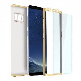 Husa Samsung Galaxy S8 Plus, FullBody Elegance Luxury Gold, acoperire completa 360 grade cu folie de protectie gratis
