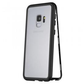 Husa Samsung Galaxy S9 Plus Magnetica 360 grade Black, Perfect Fit cu spate de sticla securizata premium + folie de sticla pentru ecran