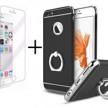 Pachet husa Elegance Luxury 3in1 Ring Black pentru Apple iPhone 6 / Apple iPhone 6S cu folie de sticla gratis