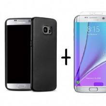 Pachet husa Elegance Luxury Antisoc TPU Black pentru Samsung Galaxy S7 Edge cu folie de protectie gratis