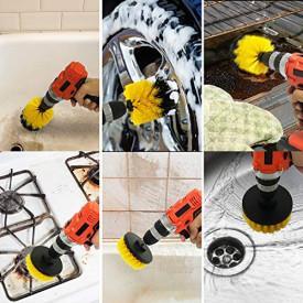 Set 4 Perii pentru Mocheta & Uz Casnic /Profesional Detailing Carpet Brush cu Adaptor Bormasina