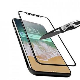 Folie de sticla Apple iPhone X, cu margini colorate Negru