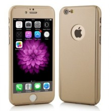Husa Apple iPhone 5/5S/SE, FullBody Elegance Luxury Gold, acoperire completa 360 grade cu folie de sticla gratis