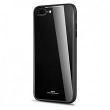 Husa Apple iPhone 6 Plus/6S Plus,Elegance Luxury Back Glass, husa cu sticla securizata pe spate de culoare neagra