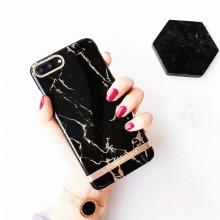 Husa Apple iPhone 7 Plus, Elegance Luxury Marble Black TPU, husa cu insertii marmura neagra-aurie