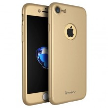 Husa Apple iPhone 8, FullBody Elegance Luxury iPaky Gold, acoperire completa 360 grade cu folie de sticla gratis