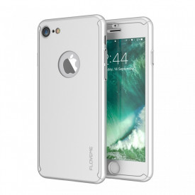 Husa Apple iPhone 8, FullBody Elegance Luxury Silver, acoperire completa 360 grade cu folie de sticla gratis