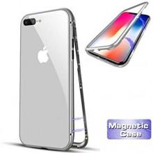 Husa Apple iPhone 8, Magnetica 360 grade Argintiu, MyStyle Perfect Fit cu spate de sticla securizata premium + folie de sticla pentru ecran gratis