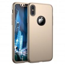 Husa Apple iPhone X, FullBody Elegance Luxury iPaky Gold, acoperire completa 360 grade cu folie de sticla gratis