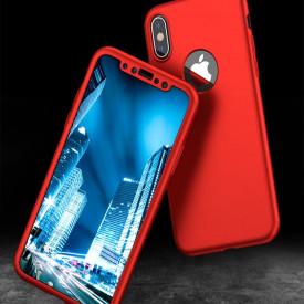 Husa Apple iPhone XS, FullBody Elegance Luxury Rosu, acoperire completa 360 grade cu folie de sticla gratis