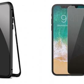 Husa Apple iPhone XS Magnetica cu spate din sticla securizata si folie privacy pentru ecran, Perfect Fit