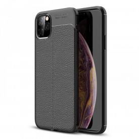 Husa pentru Apple iPhone 11 PRO, MyStyle Perfect Fit Black cu insertii de piele