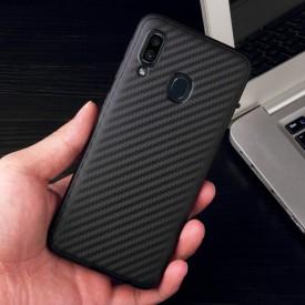 Husa pentru Samsung Galaxy A20e, Perfect Fit, cu insertii de carbon, negru