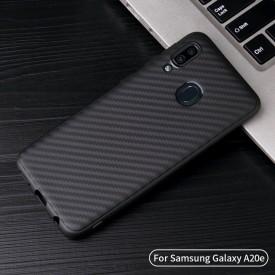 Husa pentru Samsung Galaxy A70, Perfect Fit, cu insertii de carbon, negru