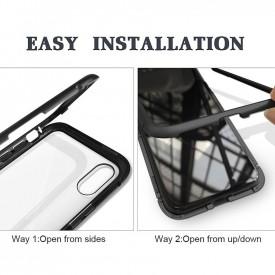 Husa Samsung Galaxy NOTE 8 , Magnetica 360 grade Negru , MyStyle Perfect Fit cu spate de sticla securizata premium + folie de protectie gratis