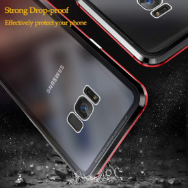 Husa Samsung Galaxy S8 , Magnetica Negru, Perfect Fit cu spate de sticla securizata premium + folie de sticla pentru ecran