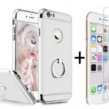 Pachet husa Elegance Luxury 3in1 Ring Silver pentru Apple iPhone 6 Plus / Apple iPhone 6S Plus cu folie de sticla gratis