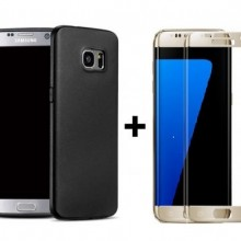 Pachet husa Elegance Luxury Antisoc TPU Black pentru Samsung Galaxy S7 Edge cu folie de sticla Gold gratis !