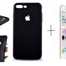 Pachet husa Elegance Luxury Black antisoc cu decupaj logo pentru Apple iPhone 7 cu folie de sticla gratis