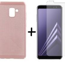 Pachet husa Elegance Luxury Mesh Rose-Gold pentru Samsung Galaxy A8 cu folie de protectie gratis
