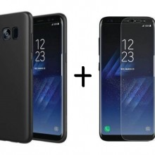 Pachet husa Elegance Luxury Slim Antisoc Black pentru Samsung Galaxy S8 Plus cu folie de protectie gratis !