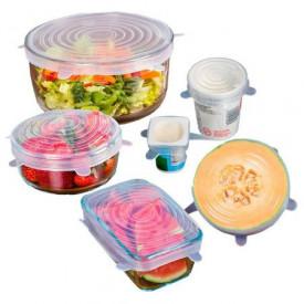 Set 6 Capace Transparente si flexibile din silicon pentru vase/recipiente, castron, bol, pahar, borcan, inlocuitor de folie strech alimentara