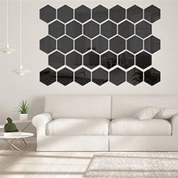 Set Oglinzi Acrilice Design Hexagon - Oglinzi Decorative M Size Black Luxury Home 12 bucati/set