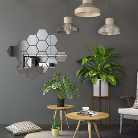 Set Oglinzi Design Hexagon Silver - Oglinzi Decorative Acrilice Cristal - Diamant - Luxury Home 24 bucati/set