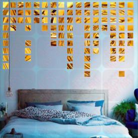 Set Oglinzi Design Patrat - Oglinzi Decorative Acrilice 4/4 Gold 100 buc