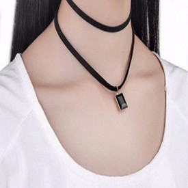 Choker Mystyle Fashion Black Duble Delux - Colier elegant pentru gat