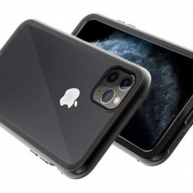 Husa Apple iPhone 11 PRO MAX Negru, Perfect Fit cu spate de sticla securizata premium + folie de sticla gratis !