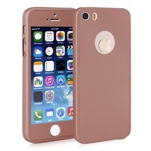 Husa Apple iPhone 5/5S/SE, FullBody Rose-Gold, acoperire completa 360 grade cu folie de sticla gratis