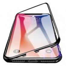 Husa Apple iPhone 6 PLUS Magnetica 360 grade Black, Elegance Luxury cu spate de sticla securizata premium + folie de sticla pentru ecran gratis