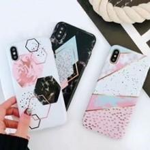 Husa Apple iPhone 7, Elegance Luxury Marble White TPU, husa cu insertii marmura alba
