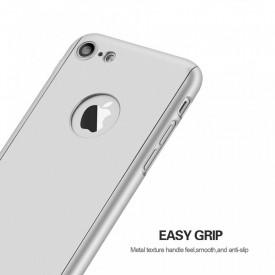 Husa Apple iPhone 8, FullBody Elegance Luxury Silver, acoperire completa 360 grade cu folie de sticla gratis