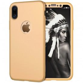Husa Apple iPhone XS, FullBody Elegance Luxury Auriu, acoperire completa 360 grade cu folie de sticla gratis