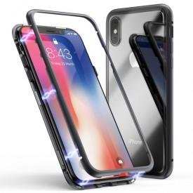 Husa Apple iPhone XS MAX Magnetica 360 grade Negru, MyStyle Perfect Fit cu spate de sticla securizata premium + folie de sticla pentru ecran gratis