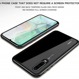 Husa Huawei P30 Pro , Magnetica 360 Negru, Perfect Fit cu spate de sticla securizata premium + folie de sticla pentru ecran