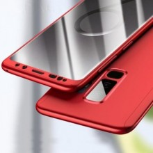 Husa Samsung Galaxy A8 2018, FullBody Elegance Luxury Rosu, acoperire completa 360 grade cu folie de protectie gratis