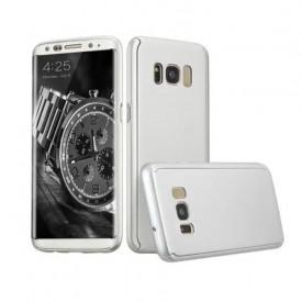 Husa Samsung Galaxy S8 Plus, FullBody Elegance Luxury Silver, acoperire completa 360 grade cu folie de protectie gratis