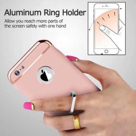 Pachet husa Elegance Luxury 3in1 Ring Rose-Gold pentru Apple iPhone 6 / Apple iPhone 6S cu folie de sticla gratis