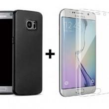 Pachet husa Elegance Luxury Antisoc TPU Black pentru Samsung Galaxy S7 Edge cu folie de sticla Clear gratis !