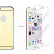 Pachet husa Elegance Luxury Tip Oglinda Gold pentru Apple iPhone 6 / Apple iPhone 6S cu folie de sticla gratis