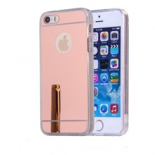 Pachet husa Elegance Luxury Tip Oglinda Rose-Gold pentru Apple Iphone 5 / Apple iPhone 5S / Apple iPhone 5SE cu folie de sticla gratis !