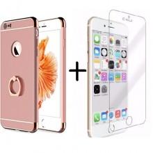 Pachet husa Elegance Luxury Ultrasubtire 3in1 Ring Rose-Gold pentru Apple iPhone 7 cu folie de sticla gratis
