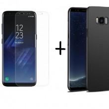 Pachet husa Elegance Luxury X-LEVEL Metalic Black pentru Samsung Galaxy S8 cu folie de protectie gratis