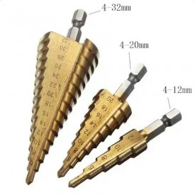 Set 3 burghie tip Freza Elicoidala (in trepte) pentru metal 4-10mm | 4-20mm | 4-32mm