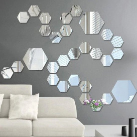 Set Oglinzi Design Hexagon - Oglinzi Decorative Acrilice Silver 29 buc